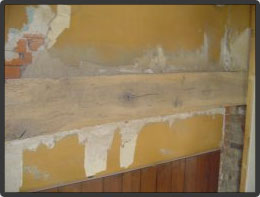 Sandblasting paint & wallpaper removal from oak beam